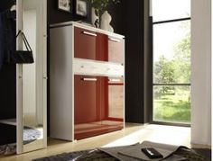 High gloss, wood or matt finished contemporary 3 door tall cabinet