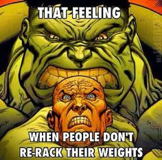 Racking your weights - sad to say - seems to be nearly non-existent at the gyms that I have been to... :(