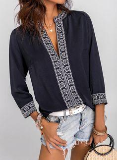Buy Tops, Online Shop, Women's Fashion Tops for Sale - Floryday Ethnic Fashion, Boho Fashion, Fashion Dresses, Fashion Blouses, Spring Fashion, Fashion Jewelry, Fashion Trends, Blouse Styles, Blouse Designs