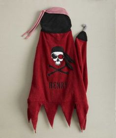 personalized skull pirate hooded towel