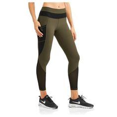 N.Y.L. Sport Women's Active Mesh Blocked Performance Legging with Media Pocket