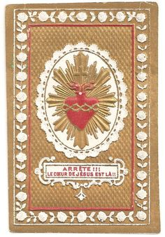 Sacred Heart Antique French Embossed Gold Holy Prayer Card, Engraving, Catholic Ephemera, Devotional Card Patron Saint Of Animals, Vintage Holy Cards, Jesus Christ Images, Heart Of Jesus, Catholic Gifts, Prayer Cards, Patron Saints, Blessed Mother, Sacred Heart