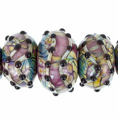 Handmade Purple with Black Dots Lampwork Glass Beads by Grace Lampwork