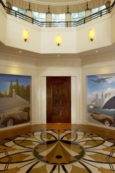 Art Deco details, murals & floor pattern hearken back to another era...