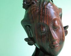 Antique Chinese Asian Carved Wood Face Mask Wall Hanging Art - Happy Smiling…