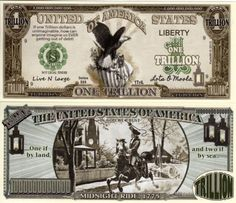 American Eagle w/Paul Revere Trillion Dollar Novelty Money Paul Revere's Ride, Money Template, Passport Card, Money Worksheets, Money Notes, Money Bill, Dollar Money, Money Pictures, Coin Values