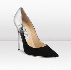 Jimmy Choo - -Anouk - silver dégradé on black suede  #Stunning Women Shoes #Shoes Addict #Beautiful High Heels #Wonderful Shoes