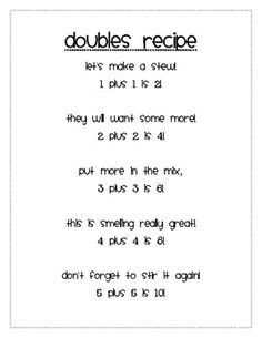 Math Doubles Song--have the kids come up with little rhymes for the larger numbers Year 1 Maths, Early Years Maths, Early Math, Early Learning, Maths Eyfs, Eyfs Activities, Math Classroom, Doubles Song, Math Doubles