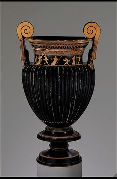 Terracotta volute-krater (bowl for mixing wine and water) with stand  Period: Classical Date: ca. 430 B.C. Culture: Greek, Attic Medium: Terracotta