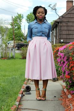 Sydne Style how to wear a full midi skirt hot pink express outfit ...