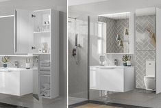 〚 Compact apartment with blue sofa in Sweden sqm) 〛 ◾ Photos ◾Ideas◾ Design Grey Bathroom Tiles, Modern Bathroom, Fitted Bathroom Furniture, Grey Bathrooms Designs, Modular Furniture, Double Vanity, Basin, Sweden, Sofa