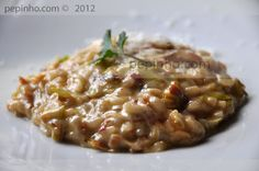 risotto de puerros con jamon Arroz Risotto, Cooking Recipes, Healthy Recipes, Polenta, Couscous, Cravings, Side Dishes, Food And Drink, Snacks