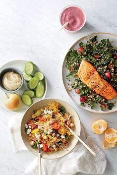 Roasted Salmon with Kale-Quinoa Salad | The American Heart Association recommends eating salmon or other fatty fish twice a week to reap the cardiovascular benefits that the omega-3 fatty acids provide. Look for wild salmon, which has 5 to 10 times fewer contaminants and persistent organic pollutants (POPs) than farm-raised.