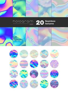 20 Holographic seamless textures. Holographic Backgrounds