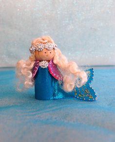 Mermaid Wood Peg Toy Ocean Peg Doll Mermaid Waldorf by LasManitos