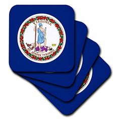 3dRose cst_55347_3 State Flag of Virginia PDUSCeramic Tile Coasters Set of 4 -- Be sure to check out this awesome product. (This is an affiliate link) #FurnitureBarCoasters