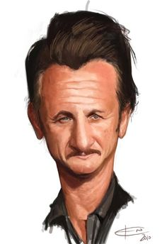 Sean Penn by Ken Coogan Funny Caricatures, Celebrity Caricatures, Celebrity Drawings, Cartoon Faces, Funny Faces, Cartoon Art, Caricature Artist, Caricature Drawing, Drawing Art
