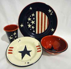 Patriotic Dinnerware Stars And Stripes Kolorful Kitchen Home Decor