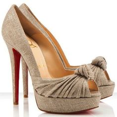 fa1932bc3f4b Color  Natural Material  Metallic Cotton Canvas Height  Approximately 140mm    5.5 inches heel. Louboutin Shoes OutletChristian ...