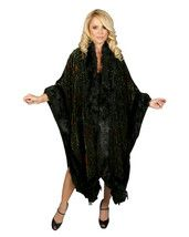 #wendybalisle FAUX FUR TRIMMED VINTAGE VELVET ART DECO BLACK ARTWEAR PEACOCK GODDESSWEAR CAPE CLOAK~KIMONO OPERA COAT~WRAP~