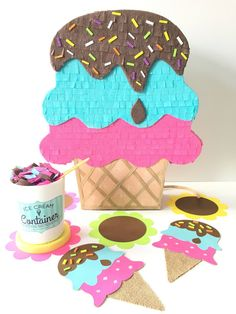 Ice Cream Pinata Mini Pinata Cake Table Ice Cream Party decorations Ice Cream Social Birthday Candy Buffet Centerpiece Summertime Backdrop by ThePetitePinata on Etsy Ice Cream Theme, Ice Cream Parlor, Donut Party, Cupcake Party, Ice Cream Containers, Mini Pinatas, Pinata Cake, Birthday Candy, Birthday Table