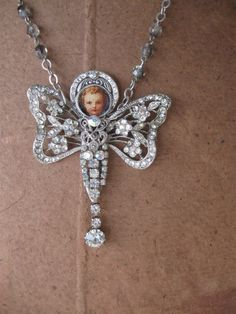 RESERVED Angel necklace repurposed vintage paste by OhMyGypsySoul