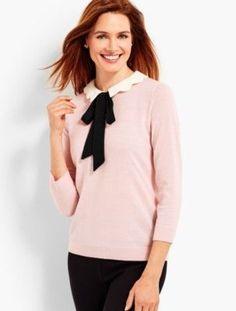 prdi43290 - Scallop Collar  Bow Sweater