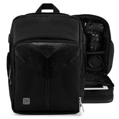 VanGoddy Sparta Onyx Black Pro DSLR Camera Backpack for Canon EOS 5D  70D  6D  7D Mark II  1D  VIXA Camcorders -- Read more reviews of the product by visiting the link on the image.