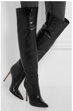 Christmas Gift Winter Women Thigh High Boots Pointed Toe Thin High Heel Over the Knee Boots for Plus Size Women Booties