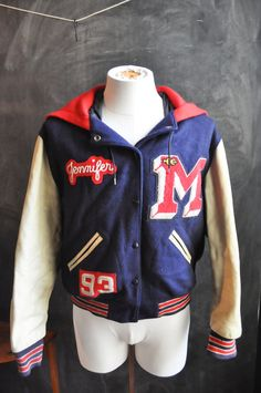 Vintage Girls Varsity Lettermen High School Jacket Marshall High Portland, Oregon 1993 Hood Leather Sleeves by drowsySwords on Etsy
