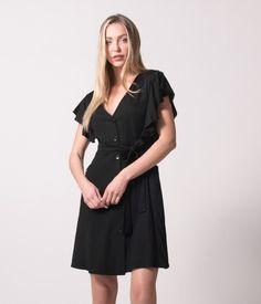 Φόρεμα Μιντι με Βολάν Μανικια - Μαύρο Short Sleeve Dresses, Dresses With Sleeves, Dresses For Work, Black, Fashion, Templates, Moda, Gowns With Sleeves, Black People