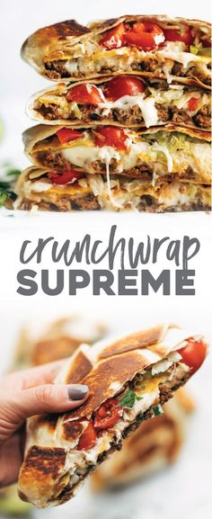 Crunchwrap Supreme! OMG. Layers of taco meat, queso, tostada, lettuce, tomato, salsa, hot sauce, and sour cream. Yes please! #taco #texmex #recipe #food | pinchofyum.com