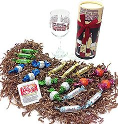 Real Women Wine Humorous Birthday Gift Pack of Assorted Lindt European Imported Gourmet Chocolate Candy, Wine Glass & Tylenol