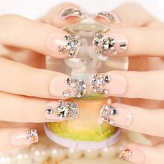 24 PCS Shining Rhinestone Gem French False Nails Square Light Pink Fake Nails Silver Glitter nep nagels Nails Z416