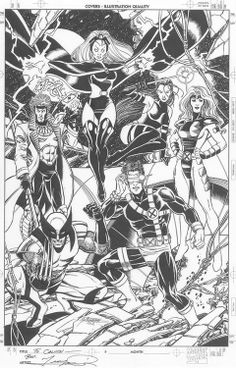 George Perez X-Men Commission, in mark ou's George Perez Comic Art Gallery Room Comic Book Artists, Comic Artist, Comic Books Art, Marvel Comics, Marvel Comic Universe, George Perez, Comic Kunst, Tinta China, Marvel Girls