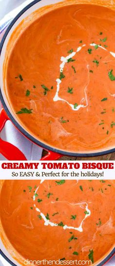 Tomato Bisque - Dinner, then Dessert Tomato Bisque is super silky smooth version of the classic tomato soup we all love with a finishing touch of heavy cream in less than an hour and no babysitting the pot! Tomato Basil Bisque, Cream Of Tomato Soup, Tomato Gravy, Fresh Tomato Soup, Tomato Tomato, Cream Soups, Tomatoe Soup Easy, Cream Of Soup, Crockpot Tomato Soup