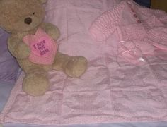 Teddy Bear Baby Blanket- Hand Knit - Knitted- Pram Blanket-Nursery Decor(Matinee Set sold separately as listing)-Sparkly Pink-Light Pink-