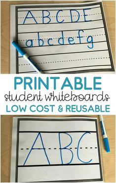 Are you tired of buying new whiteboards every year??  Stop worrying about them getting broken or ruined and get these printable whiteboards/dry erase boards!  These printable whiteboards are great because they are cheap and you can print as many as you need whenever you want!  Perfect for practicing handwriting, answering questions during carpet time, small groups and more!  They come with 3 different lined options! Pre Writing, Writing Workshop, Teaching Writing, Writing Paper, Primary Teaching, Writing Ideas, Teaching Resources, Small Whiteboard, Teaching Calendar