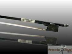 Antonio Carbon Fiber Viola Bow by Antonio Strad. $95.00. The Antonio Carbon Fiber bow has a number of features which include silver winding, a leather grip, Parisian eye, Ebony frog, and a Mother-of-Pearl slide; all of which makes for excellent balance, nice control, and optimum sound.  Real horsehair and low price round out this perfect choice for students looking to try a great carbon fiber bow.  Full-size only.