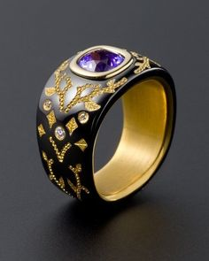 Zoltan David Black Cobalt Chromium with 22K Gold Inlay and Insleeve; Purple Sapphire and Ideal Cut Diamonds Ring