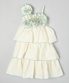 Look at this Little Miss Fashion Ivory & Blue Tiered Floral Dress - Infant, Toddler & Girls on #zulily today!