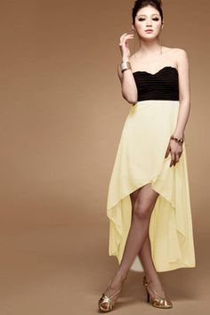 Off-Shoulder Patchwork Ruffled Chest Irregular Dress on BuyTrends.com, only price $9.23