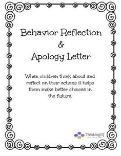 Behavior Reflection Think Sheets  Behavior Reflection