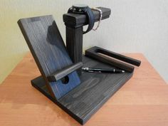 iPhone stand wooden docking station wood by TriggeryWoodworking