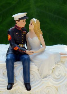 Country Wedding Cakes Marine Corps Wedding Cake Topper by Magical Day Marine Wedding Cakes, Military Wedding Cakes, Marine Corps Wedding, Wedding Groom, Our Wedding, Dream Wedding, Wedding Ideas, Wedding Stuff, Army Wedding