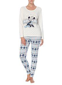 Cream Minnie And Mickey Disney Pyjama Set