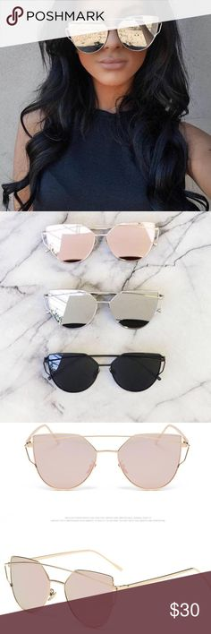 arrivalRose gold mirror sunglasses Gorgeous mirrored sunglasses! Turn heads with these stunning sunglasses year round! Make any outfit look phenomenal. I adore these glasses because once you put them on, they make the world look so hd.  PRICE IS FIRM UNLESS BUNDLED- NO OFFERS  3 are available Boutique Accessories Sunglasses