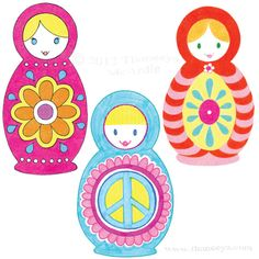 Colorful Russian Nesting Dolls by Thaneeya...easy design to paint on rocks..such fun!!