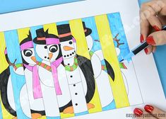 Winter Agamograph Template - Easy Peasy and Fun Art Club Projects, Winter Art Projects, Winter Crafts For Kids, Fun Projects, Diy For Kids, Preschool Crafts, Craft Activities, 3rd Grade Art, Operation Christmas Child
