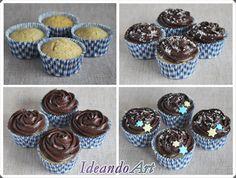 Cupcakes de coco con buttercream de chocolate y estrellitas de fondant by IdeandoArt